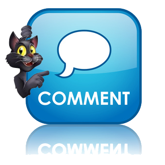 comment button cartoon cat pointing